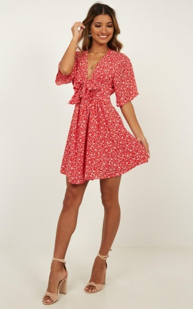 Dreaming About You Dress In Red Floral