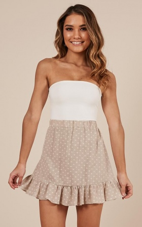 European Sun Skirt In Beige Polka Dot