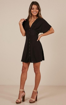 Love Letter To You dress in black linen look