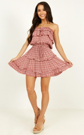 Keep Me In Mind Dress In Dusty Rose Print