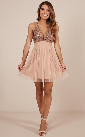 Shining Light Dress In Rose Gold Sequin