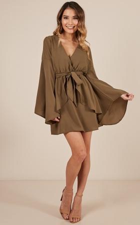 Surprise Me Dress In Khaki