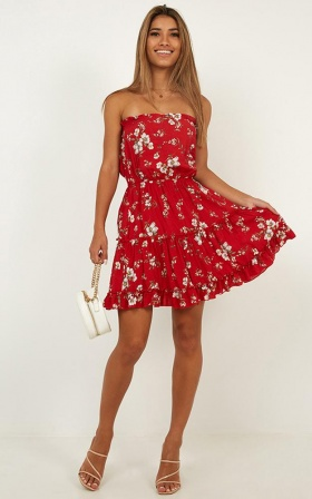 This Is Love Dress In Red Floral