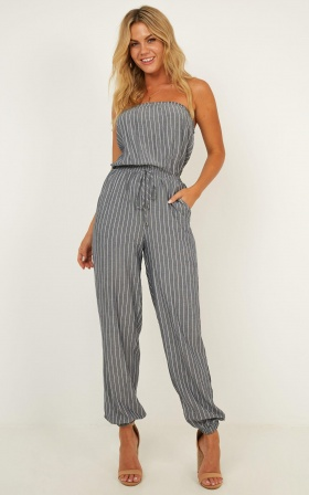 Leave Me Speechless Jumpsuit In Grey Stripe
