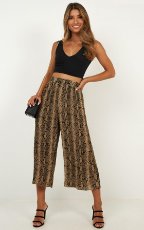 Walk With Her Pants In Snake Print