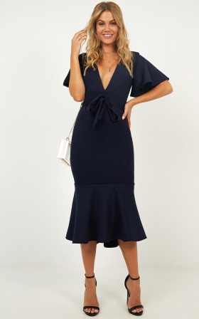 Midnight In Paris Dress In Navy