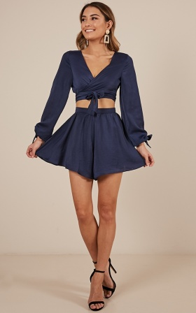 Close Encounter Two Piece Set In Navy