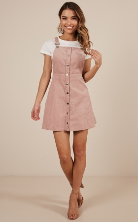 Not For Me pinafore dress in blush corduroy