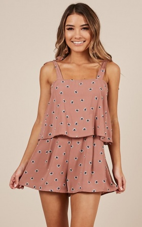 Playing It Cool Playsuit In Blush Floral
