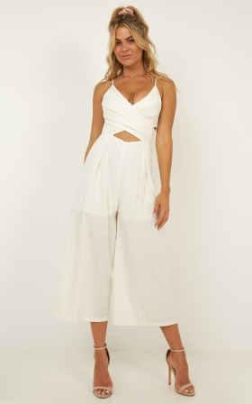 Through With It Jumpsuit In White Linen Look