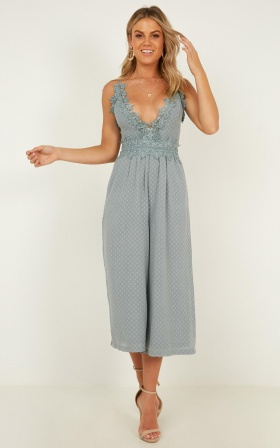 We Could Be Friends Jumpsuit In Sage
