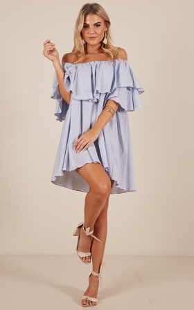 Forever Loved dress in blue stripe