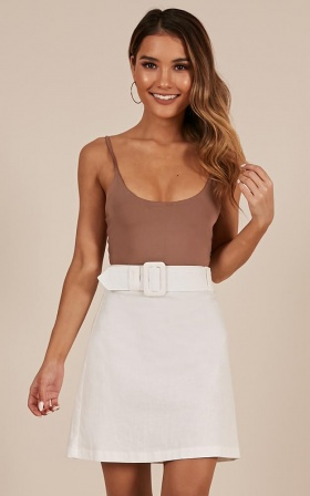 Echos Of Love Skirt In White Linen Look