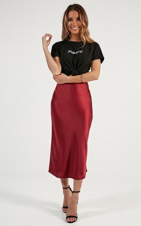 Space Odyssey Midi Skirt In Wine Satin