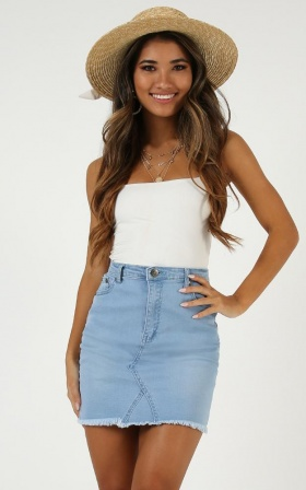 Summertime Magic Denim Skirt In Light Wash