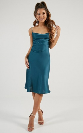 Shine Up Midi Dress In Teal Satin