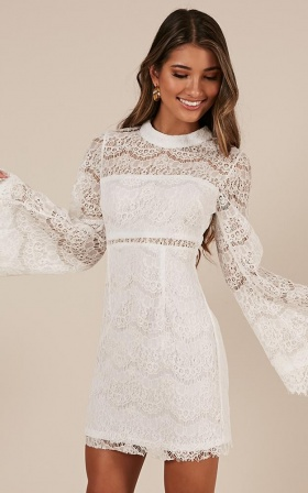 Never Start Lace Mini Dress In White Lace