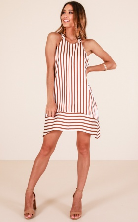 Finest Hour Dress In Brown Stripe