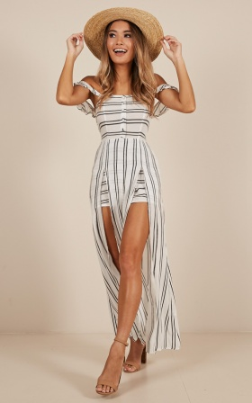 Thinking Bout You Maxi Playsuit In White Stripe