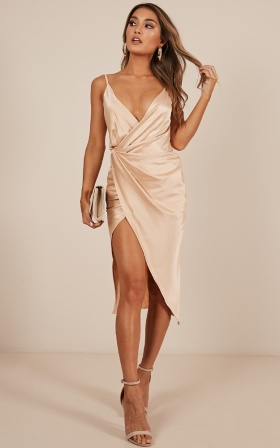 Yas Queen Dress In Beige Satin