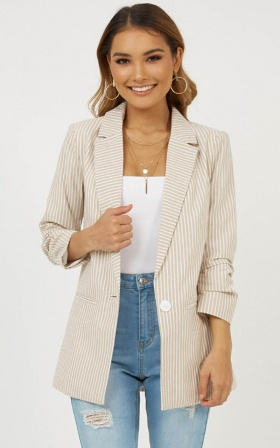 Nows Your Chance Blazer in Mocha Stripe