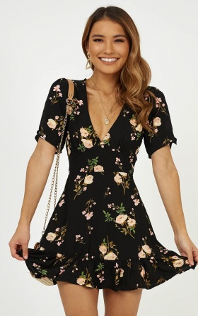 Making It Down dress in black floral