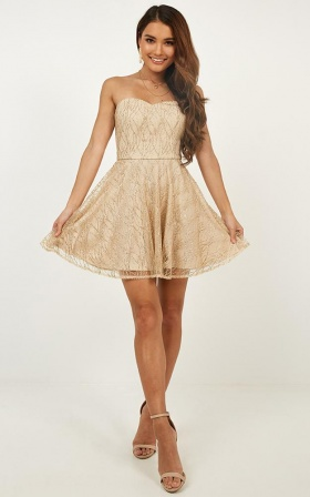 Light Up The Night Dress In Gold Glitter