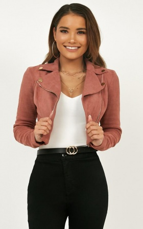 Riders Paradise Jacket In Blush Suedette