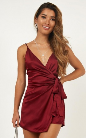Lovers Quarrel Playsuit In Wine Satin