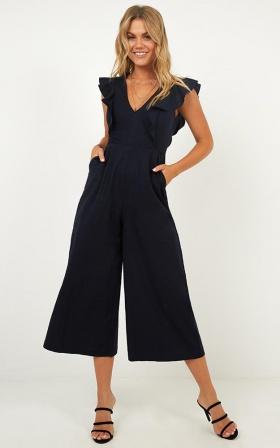 Cross Your Mind Jumpsuit in navy linen look