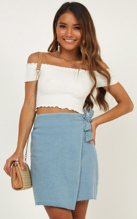 Who To Trust Denim Skirt In Blue Wash