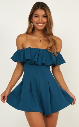 Contain My Love Playsuit In Dark Teal