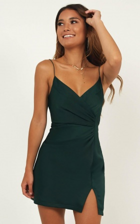 Mighty Touch Dress In Emerald Satin