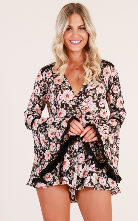 Made For Me playsuit in black floral