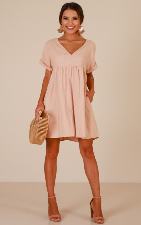 Way You Move dress in blush linen look