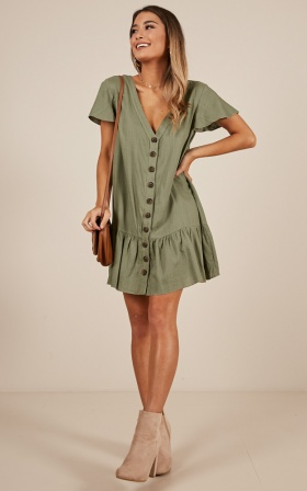 All Or Nothing dress in khaki