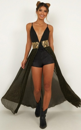 Bad Girls Do It Well Skirt In Black And Gold