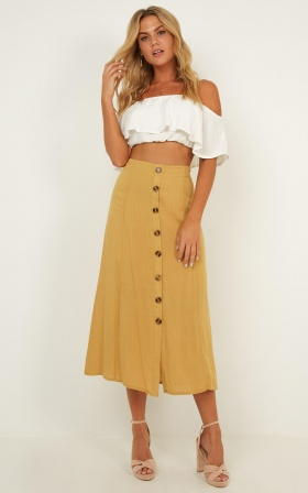 Call To You Skirt In Mustard Linen Look