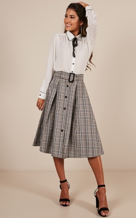 Crush Alert skirt in grey check