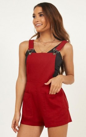 City Of Light Playsuit In Chilli Linen Look