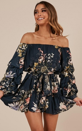 Leave With Me Dress In Navy Floral