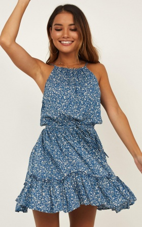 Cry Me A River Dress In Blue Floral