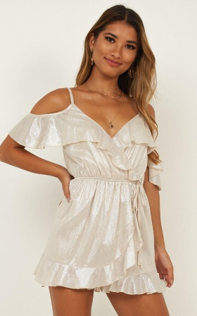 Dancing For You Playsuit In Nude Metallic