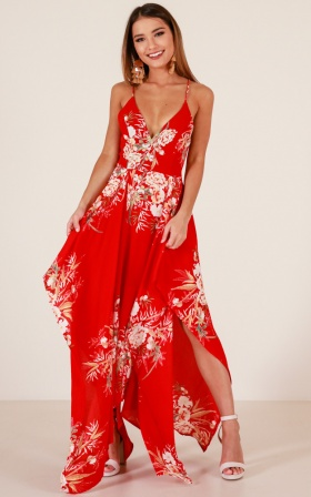 Die For Me maxi dress in red floral