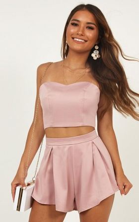 Dion Two Piece Set In Blush Satin