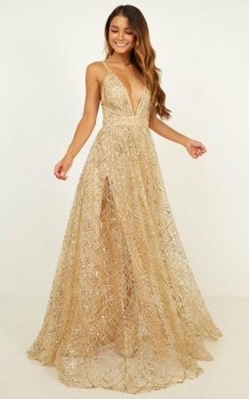Eternal Sunshine Maxi Dress In Gold Sequin