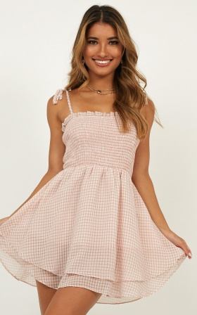 Fields Of Dreams Dress In Blush Gingham