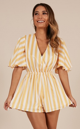 Garden Of Eden Playsuit In Mango Stripe