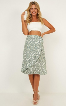 Its Time Wrap Skirt In Sage Print