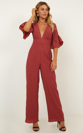 Lala Land Jumpsuit In Paprika Linen Look